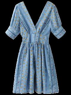Impreso Doble V Una Línea De Vestidos - Azul S