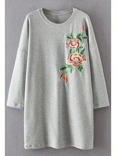 Long Sleeve Floral Embroidered Casual Dress - Gray M