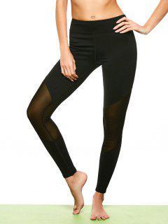 Mesh Insert Footless Yoga Leggings - Black L
