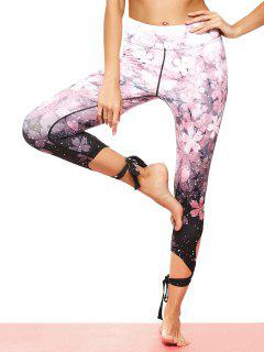 Cut Out Print Tie Hem Dancing Leggings - Pink M