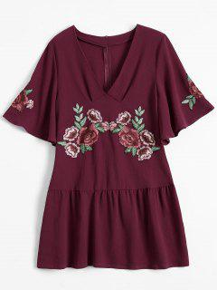 Embroidered Floral Ruffle Hem Dress - Wine Red L