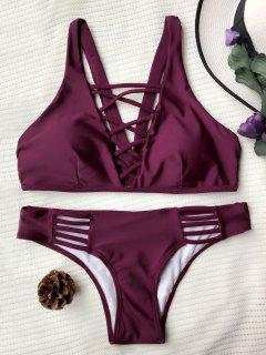 Crisscross Strap Padded Bikini Set - Burgundy M