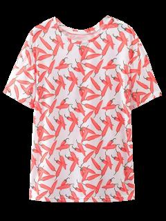 Oversize Chilli Print T-Shirt - Red L