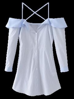 Flounced Cold Shoulder Casual Dress - Blue M