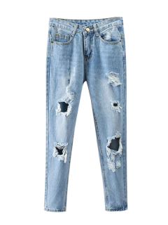 Bleach Wash Ripped Tapered Jeans - Denim Blue M