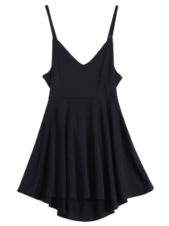 Backless Lace Up Skater Dress - Black S