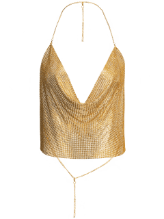 Draped Metal Crop Top For Party - Gold S
