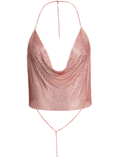 Draped Metal Crop Top For Party - Rose Gold L