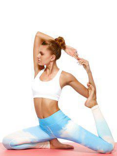Sky Print Tie Dye Yoga Leggings - Azure M