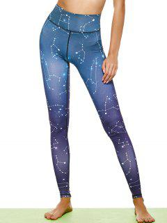 Constellation Print Stirrup Leggings - Purple L