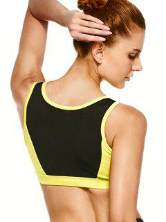 Mesh Panel High-Impact Sports Bra - Yellow L