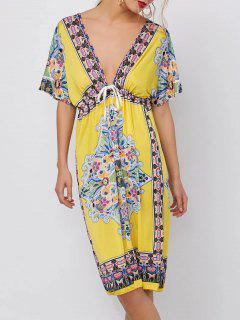 Plunging Neckline Ethnic Print Mini Dress - Yellow M