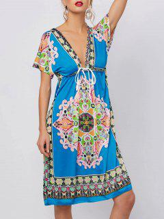 Plunging Neckline Ethnic Print Mini Dress - Blue Xl