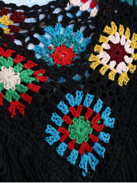 unique Crochet Yoke Cover-Up Tank Dress - BLACK ONE SIZE Mobile