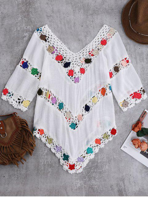 women Crochet Chevron Beach Cover-Up Tunic - WHITE ONE SIZE Mobile