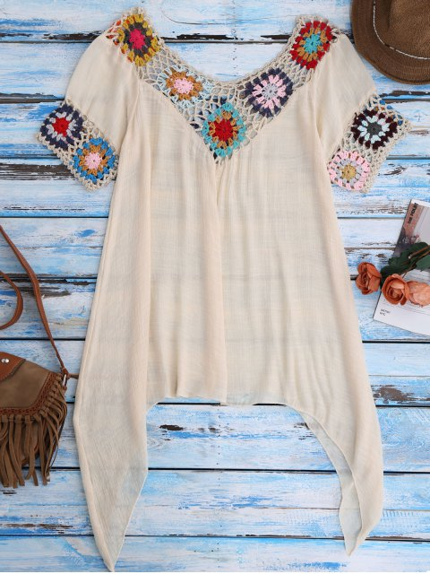 women's Pointed Hem Crochet Beach Cover-Up Tunic - BEIGE ONE SIZE Mobile