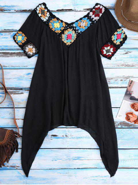 ladies Pointed Hem Crochet Beach Cover-Up Tunic - BLACK ONE SIZE Mobile