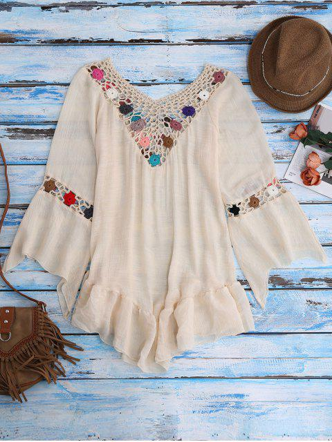 shop Bell Sleeve Crochet Flower Beach Cover-Up - BEIGE ONE SIZE Mobile