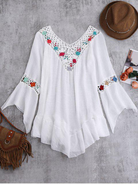 Bell manches Crochet plage Fleur Cover-Up - Blanc Taille Unique Mobile