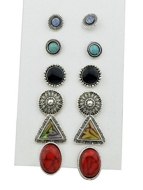 assortiment de Boucles d'oreilles circulaires en strass en faux turquoises - Argent  Mobile