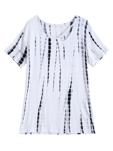 new Tie Dye Cut Out Neck T-Shirt - WHITE ONE SIZE Mobile