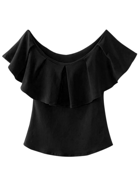 womens Off The Shoulder Ruffles Top - BLACK S Mobile