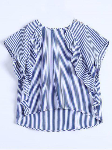 fancy Dip Hem Ruffle Striped Blouse - BLUE S Mobile