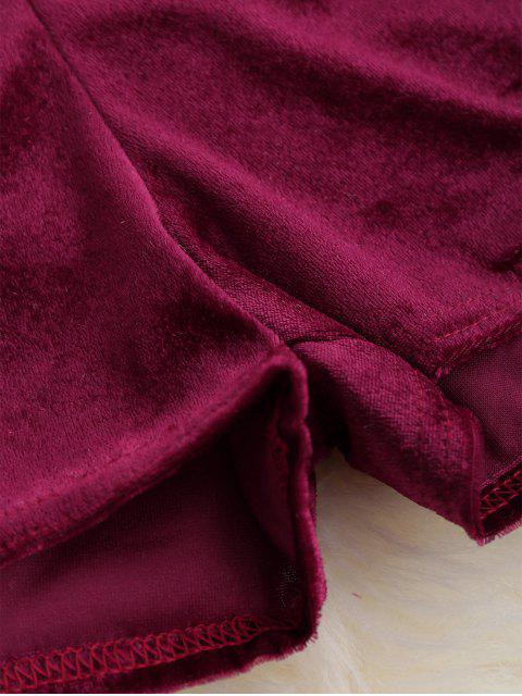 outfit Loopback Waist Velvet Shorts - WINE RED M Mobile