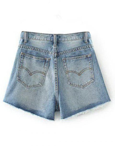 new Cutoffs Distressed Denim Shorts - LIGHT BLUE 24 Mobile