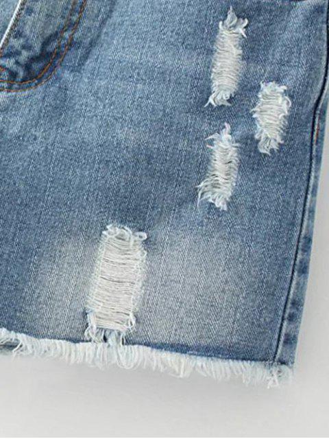 hot Cutoffs Distressed Denim Shorts - DEEP BLUE 29 Mobile