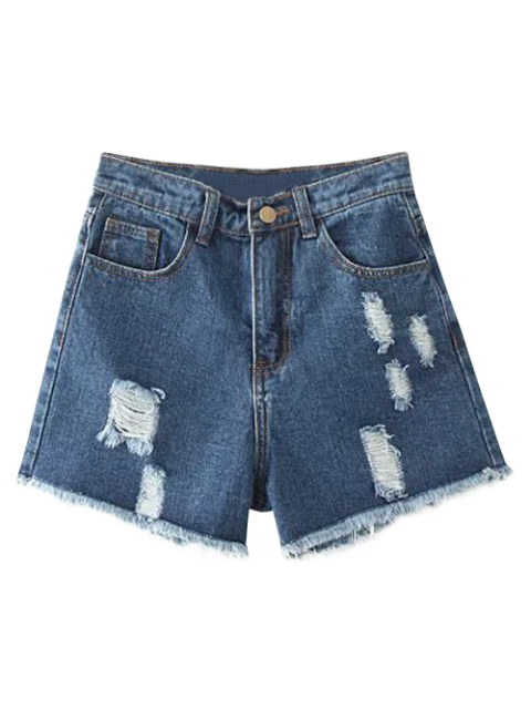 hot Cutoffs Distressed Denim Shorts - DEEP BLUE 29 Mobile