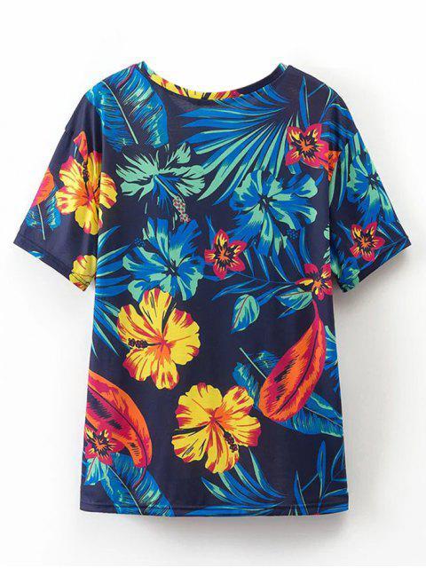 T-shirt imprimé tropical en vrac - Bleu Violet L Mobile