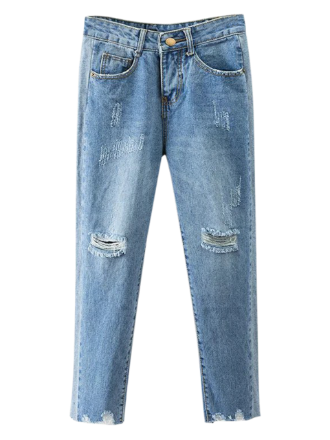 best Cutoffs Ripped Tapered Jeans - DENIM BLUE S Mobile