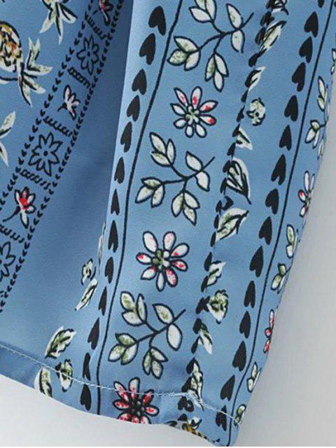 hot Printed Double V A-Line Dress - BLUE S Mobile