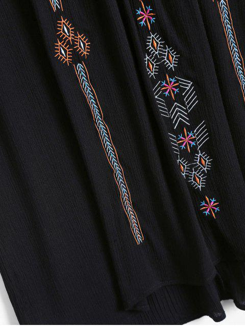 shops Ethnic Embroidered Shift Dress - BLACK ONE SIZE Mobile