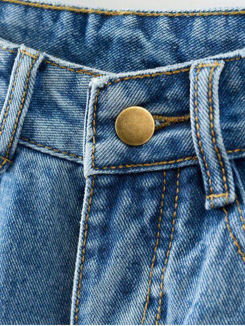 ladies Cutoffs Ripped Tapered Jeans - DENIM BLUE L Mobile