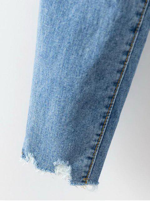 lady Cutoffs Ripped Tapered Jeans - DENIM BLUE M Mobile
