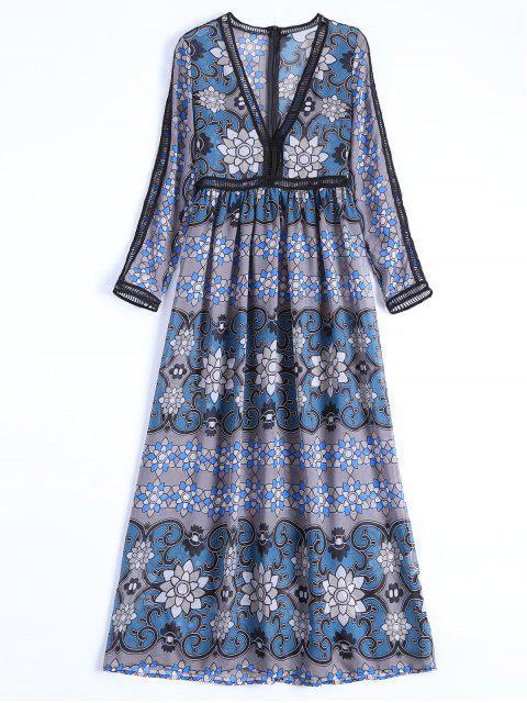 buy Sheer Plunge Floral Ladder Long Sleeve Dress - GRAY L Mobile