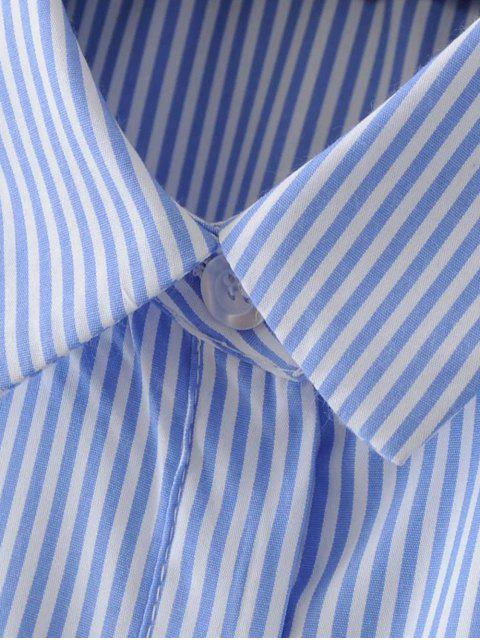 affordable Embroidered Stripes Shirt Dress - STRIPE L Mobile