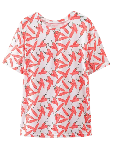 lady Oversize Chilli Print T-Shirt - RED L Mobile