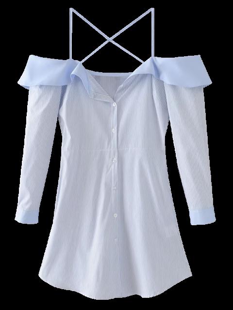 unique Flounced Cold Shoulder Casual Dress - BLUE M Mobile