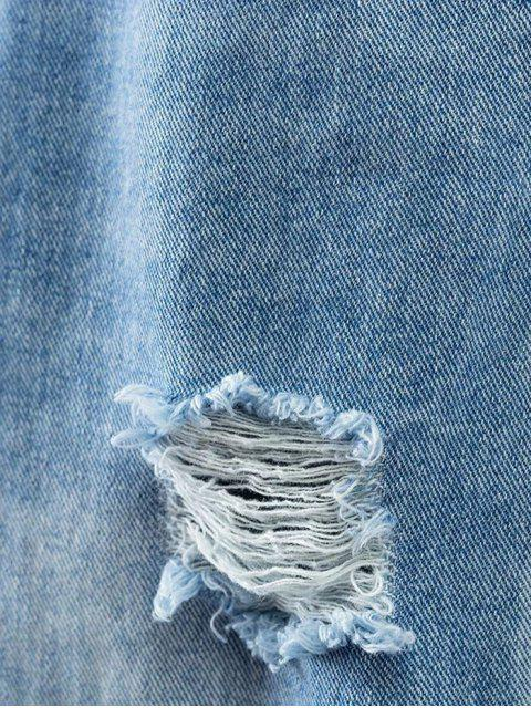 ladies Bleach Wash Ripped Tapered Jeans - DENIM BLUE XL Mobile