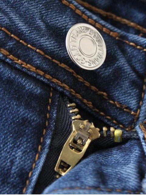 sale Cutoffs Layered Flare Jeans - DENIM BLUE M Mobile