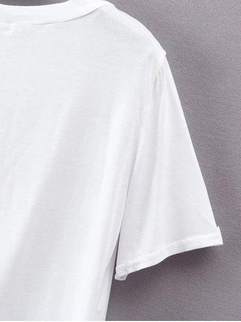 Asymétrique Slit T-shirt - Blanc L Mobile