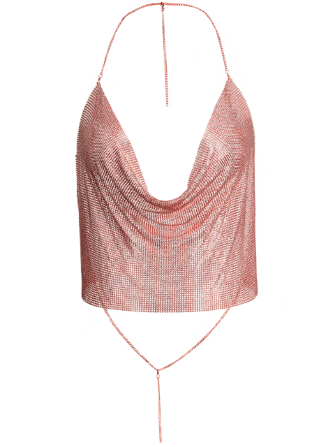 sale Draped Metal Crop Top For Party - ROSE GOLD XL Mobile