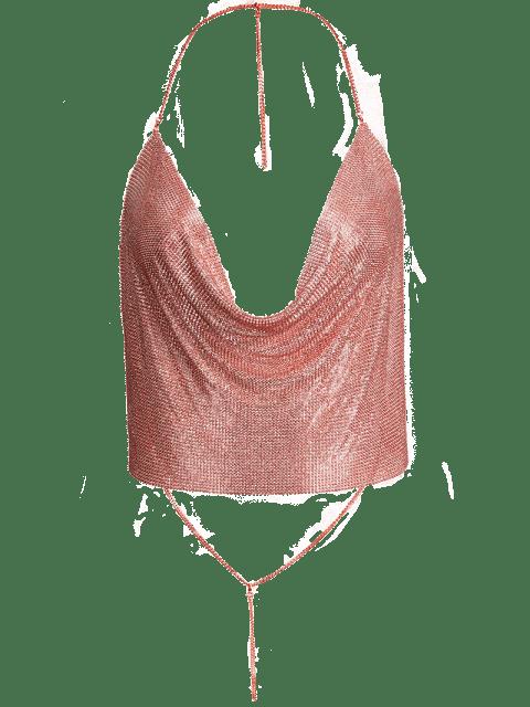 unique Draped Metal Crop Top For Party - ROSE GOLD L Mobile