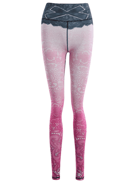 women's Print Lace Ombre Stirrup Leggings - PINKISH PURPLE L Mobile