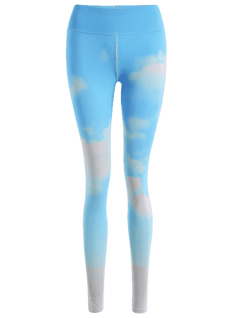 new Sky Print Tie Dye Yoga Leggings - AZURE M Mobile