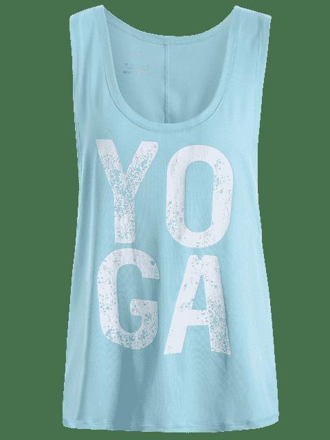 trendy Yoga Dropped Armhole Sports Tank Top - PHOTO CYAN L Mobile