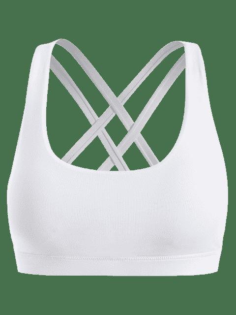 buy Strappy Crossover Sports Bra - WHITE M Mobile